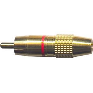 CINCH konektor zlacený pro kabel 5-6mm,červený proužek