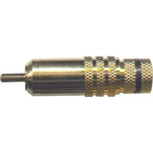 CINCH konektor zlacený, kabel do 8mm, černý proužek