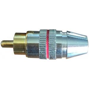 CINCH konektor kov.nikl.pro kabel 5mm,červený proužek