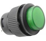 Vypínač stiskací R16-503AD 1pól. OFF-ON 250V/3A zelený prosvětlený