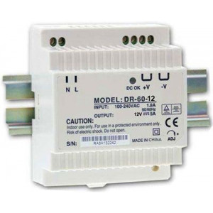 Průmyslový zdroj DR-60-12, 12V=/60W, spínaný na DIN lištu