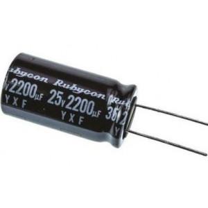 2200u/25V 105° 13x24x5mm, elektrolyt.kondenzátor radiální Rubycon