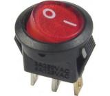 Vypínač kolébkový OFF-ON 1pol.250V/3A červený, prosvětlení 230V