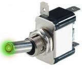 Vypínač páčkový ASW-07D, ON-OFF 1pol.12V/20A, zelené prosvětlení 12V