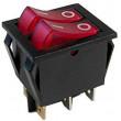 Vypínač kolébkový IRS-2101-1C, 2xOFF-ON 250V/15A červený, prosvětlený