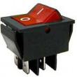 Vypínač kolébkový IRS-201-1B, ON-OFF 2pol.250V/15A červený,prosvětlený