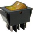 Přepínač kolébkový IRS-203-1B, ON-OFF-ON 2pol.250V/15A žlutý, prosvětl