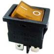 Vypínač kolébkový MIRS-201A-C3, ON-OFF 2pol.250V/3A žlutý, prosvětlený