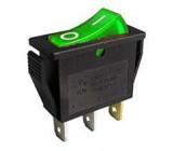 Vypínač kolébkový OFF-ON 1pol.250V/15A, zelený, prosvětlení 230V