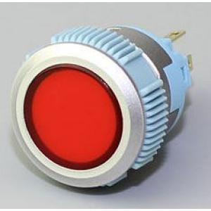 Vypínač stiskací L22F-11NL, ON-ON 1pól. 250V/3A, červený prosvětlený