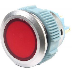 Tlačítko L22F-11NM, ON-(ON) 1pól. 250V/3A, červené prosvětlení 12V