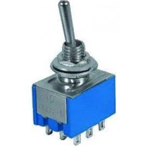 Přepínač pačkový MTS-302, ON-ON 3pol.250V/3A-mini-otvor 6mm