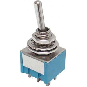 Přepínač páčkový MTS-203, ON-OFF-ON 2pol.250V/3A mini