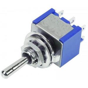 Přepínač páčkový MTS-223, (ON)-OFF-(ON) 2pol.250V/3A mini
