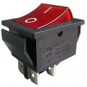 Vypínač kolébkový IRS-201-2C, OFF-ON 2pol.250V/15A červený prosvětlený