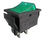 Tlačítko kolébkové RS-211-2C, OFF-(ON) 2pol.250V/15A zelené