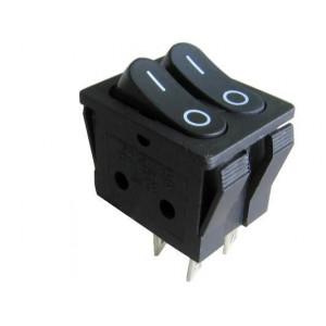 Přepínač kolébkový RS-2101-3C, 2xON-OFF 2x1pol.250V/15A černý