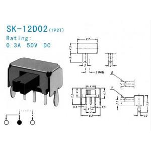 Přepínač posuvný SK-12D02, ON-ON 1pol.50V/0,5A úhlový