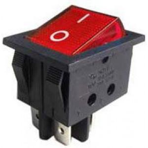 Vypínač kolébkový IRS-201-3A, ON-OFF 2pol.250V/15A červený,prosvětlený