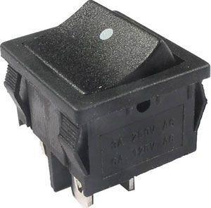 Tlačítko kolébkové MRS-211, OFF-(ON) 2pol.250V/6A černé