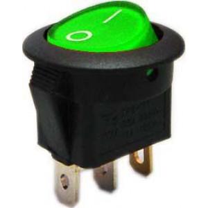 Vypínač kolébkový IRS-101-8C/D, OFF-ON 1pol.12V/16A zelený,prosvětlený
