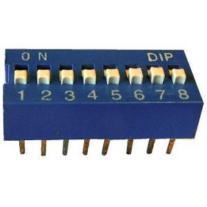 DIP spínač 8x modrý