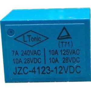 Relé JZC-4123 12V, kontakt 28VDC/10A(240VAC/7A)
