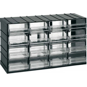 Závěsná skříňka stohovací 382x230x148mm - 16 krabiček, ArtPlast 612