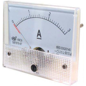 Analogový panelový ampérmetr 69C9 3A DC, včetně bočníku