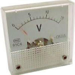 Analogový panelový voltmetr 91C4 15V DC