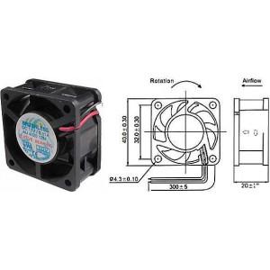 Ventilátor 40x40x20mm 12V/0,07 6000 ot/min.