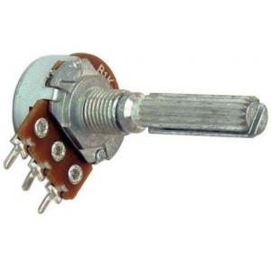 Potenciometr otočný kovový16mm 500k/N oska 6/20mm drážkovaná
