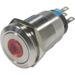 Tlačítko OFF-(ON) LAS1-19F 250V/5A, červené prosvětlení 12V