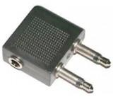 Redukce 2x JACK 3,5 mono konektor / JACK 3,5 stereo zdířka