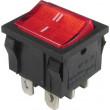 Přepínač kolébkový MRS-202-4, ON-ON 2pol.250V/6A červený, prosvětlený