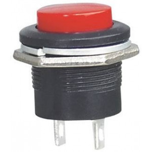 Tlačítko R13-507 OFF-(ON) 250V/3A do otvoru 16mm červené