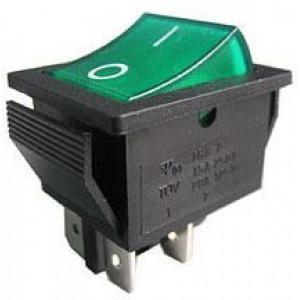 Vypínač kolébkový IRS-201-2C, ON-OFF 2pól.250V/15A zelený, prosvětlený