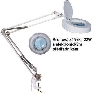 Stolní lupa se zářivkou 8606C-D,5 dioptrií, se svorkou