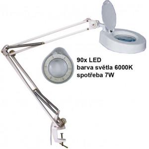 Stolní lupa LED 8606CL, 5 dioptrií, uchycení svorkou