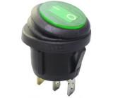 Vypínač kolébkový KCD1-5-101NW, OFF-ON 1pol.250V/6A zelený vodotěsný