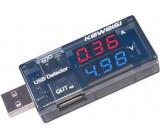 USB tester - voltmetr a ampérmetr 3-9V/0-3A DC KWS-10VA