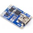 Nabíječka Li-Ion článku 1A s ochranou, modul s IO TP4056 (mini USB)