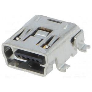 Zásuvka USB B mini SMT PIN:5 vodorovné