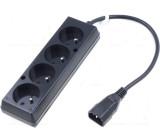 Kabel CEE 7/5 (E) zásuvka IEC C14 vidlice 0,3m Zásuvky:4