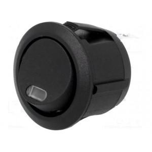 Přepínač SPST 6A/250VAC 20A/12VDC OFF-(ON) černý s kontrolkou