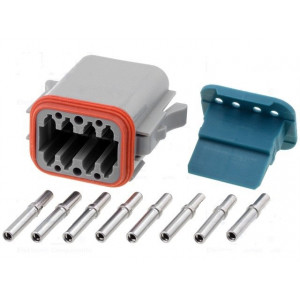 Konektor vodič-vodič AT zásuvka 16-18AWG 8 PIN IP67,IP69K
