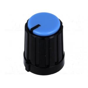 Knoflík miniaturní s ukazatelem plast pro hřídel 6mm černá