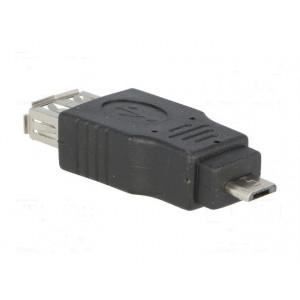 Adaptér USB 2.0 USB A zásuvka, USB B micro vidlice černá