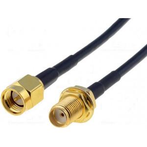 Kabel 50Ω 0,1m SMA zásuvka, SMA vidlice černá