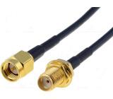 Kabel RG174 50Ω SMA zásuvka, SMA vidlice 500mm černá